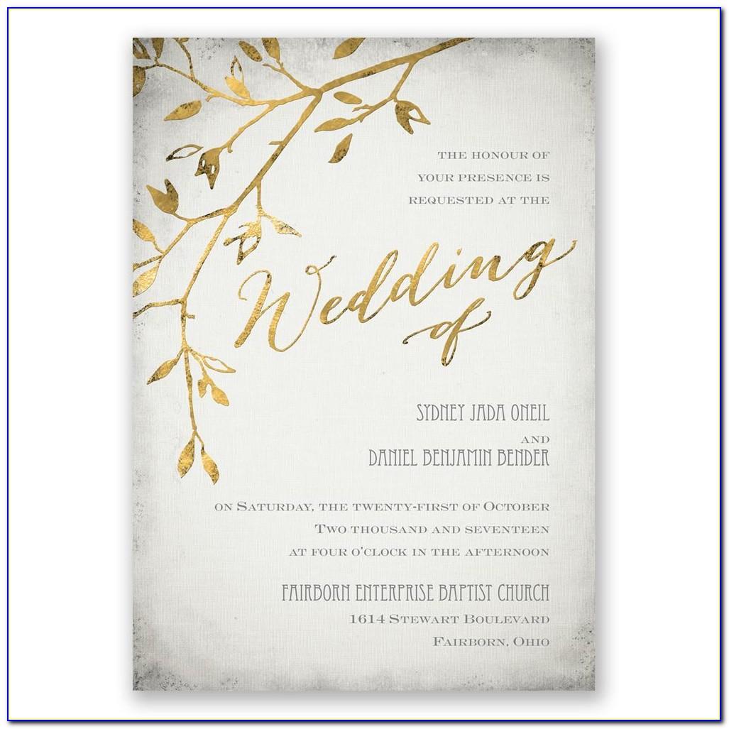 Golden Wedding Invitation Card Sample