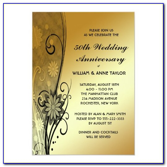 Golden Wedding Invitation Templates Free