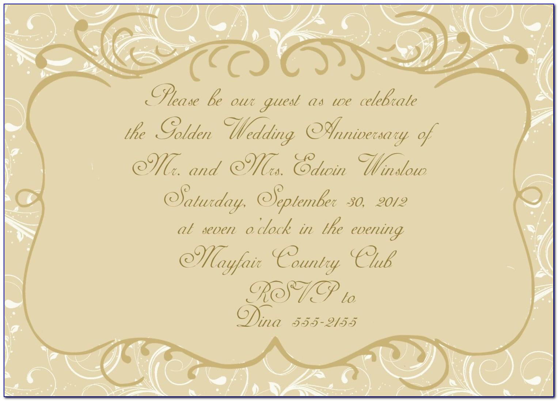 Golden Wedding Invitation Wording Samples