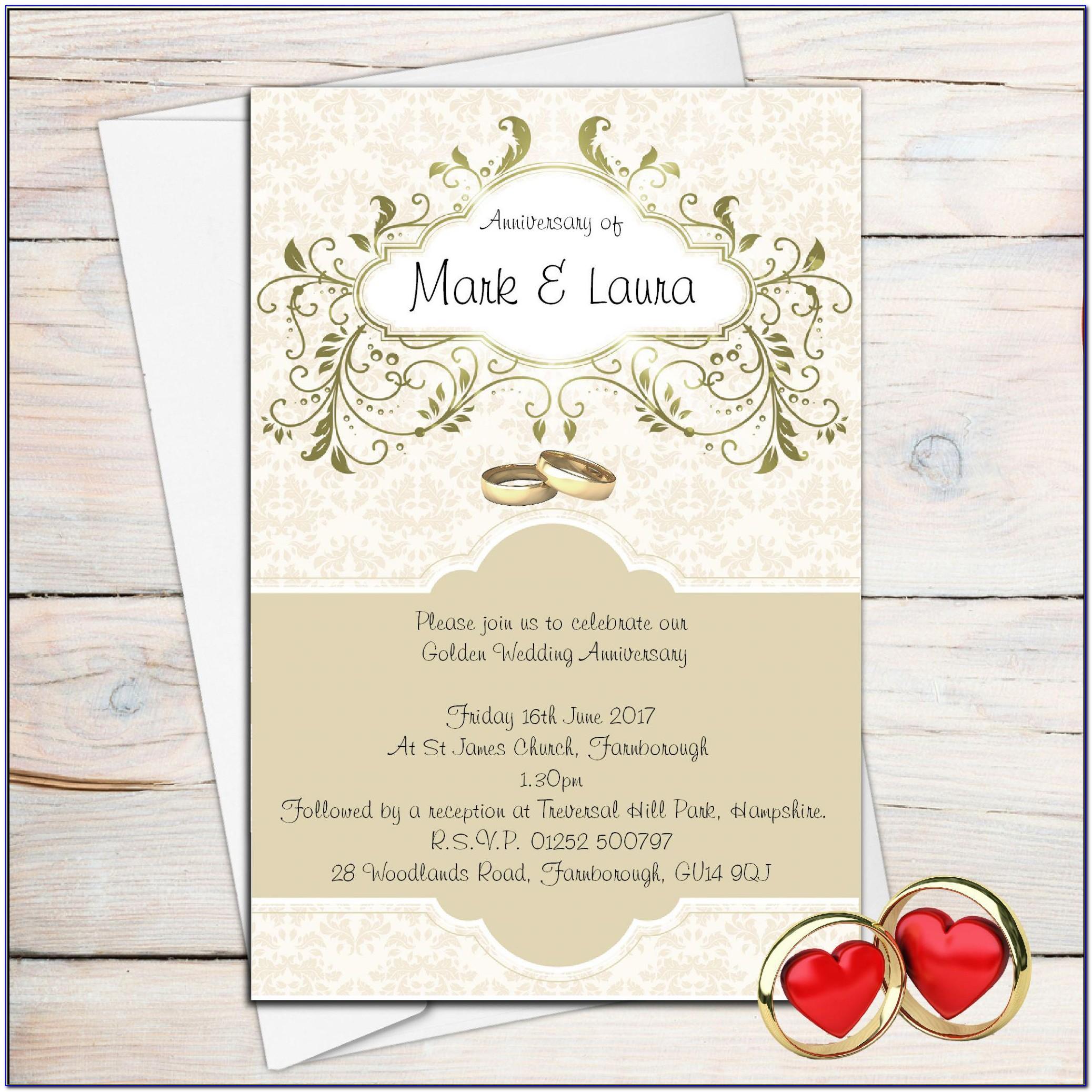 Golden Wedding Invitations Samples