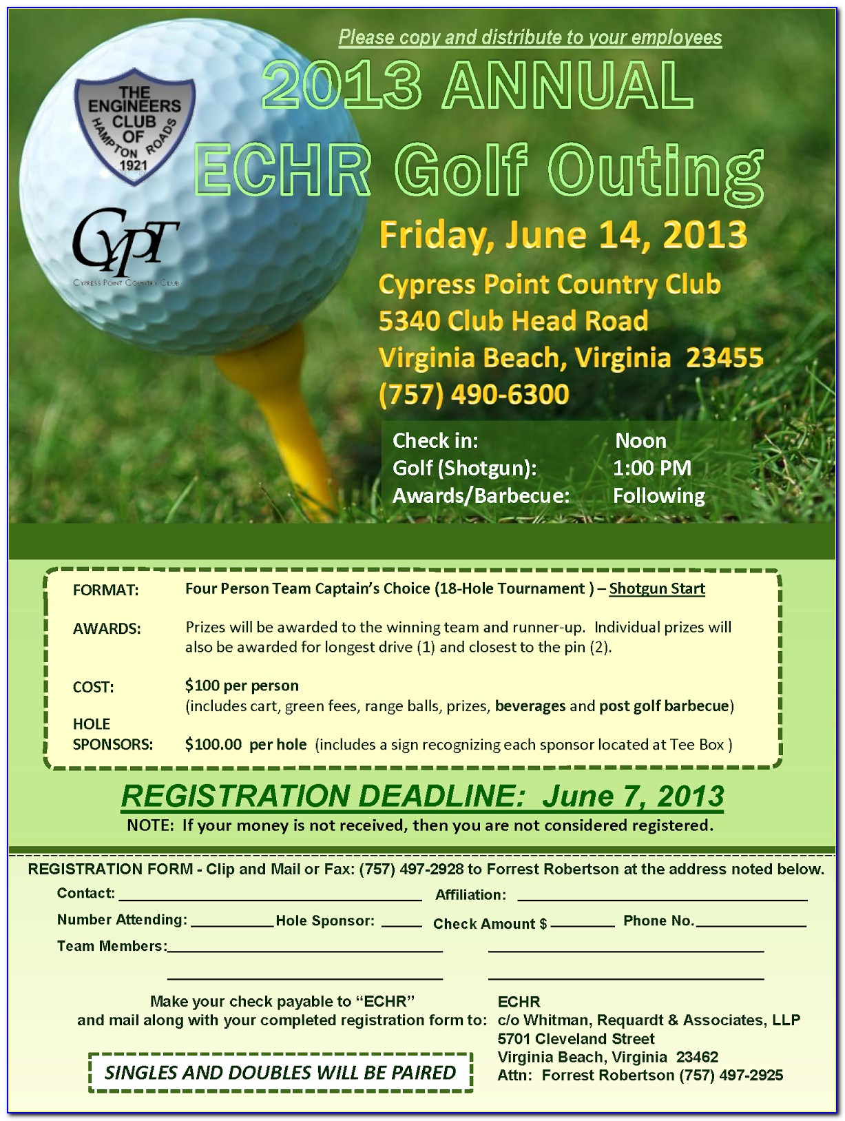 Golf Tournament Program Template Free