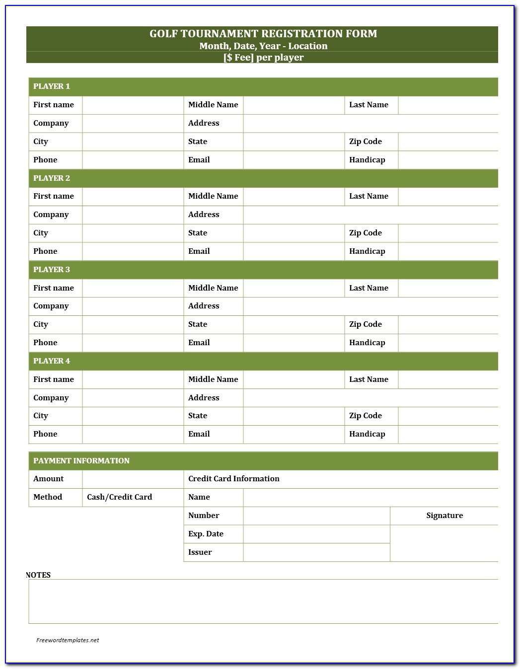 Golf Tournament Registration Form Template Word