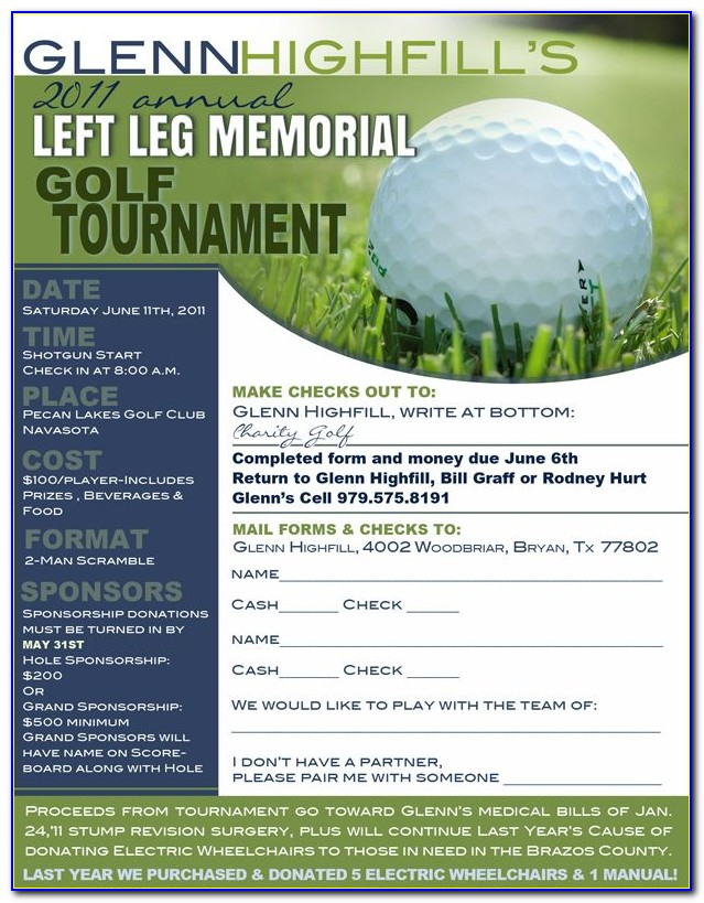 Golf Tournament Registration Sheet Template