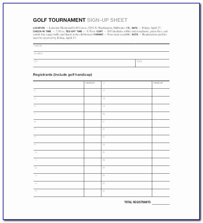 Golf Tournament Spreadsheet Template Excel