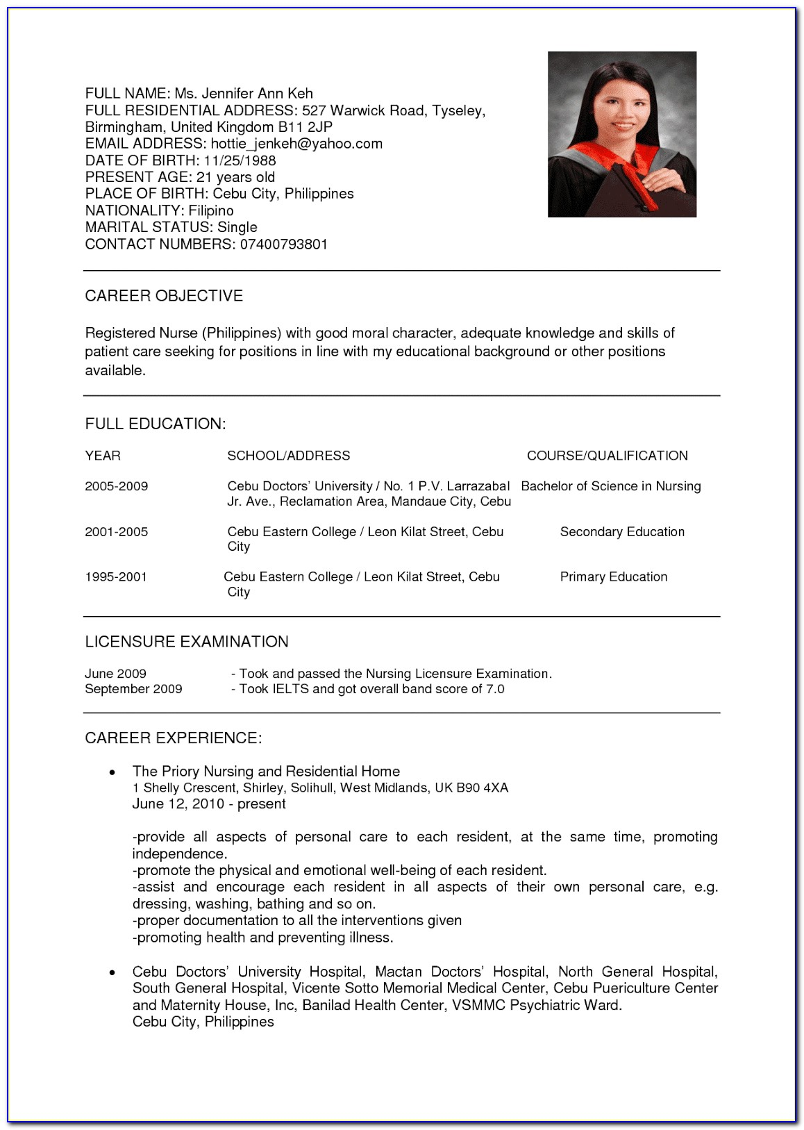 Good Nurse Resume Example