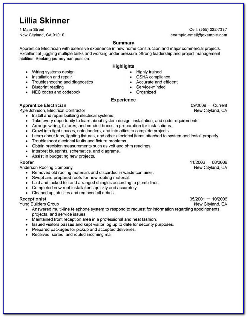 Good Resume Example For Internship