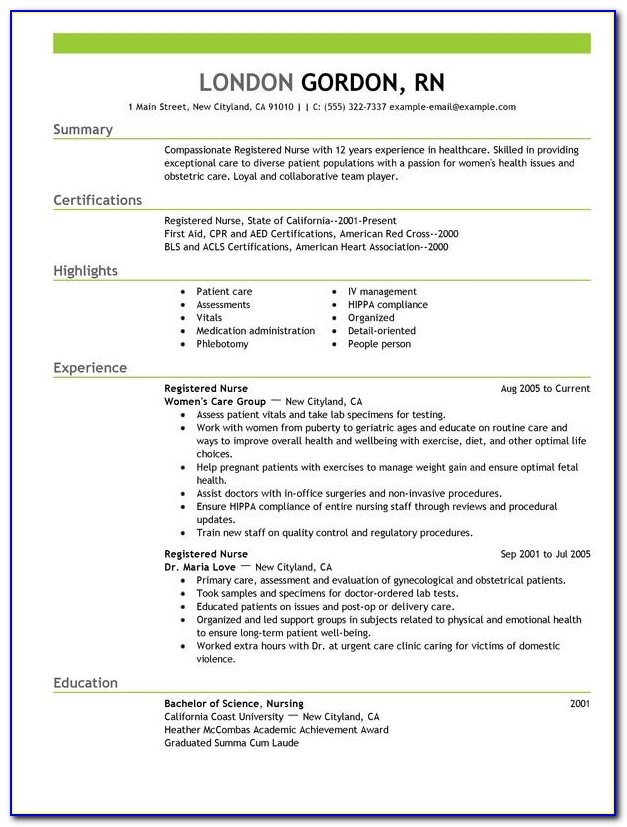 Good Rn Resume Sample