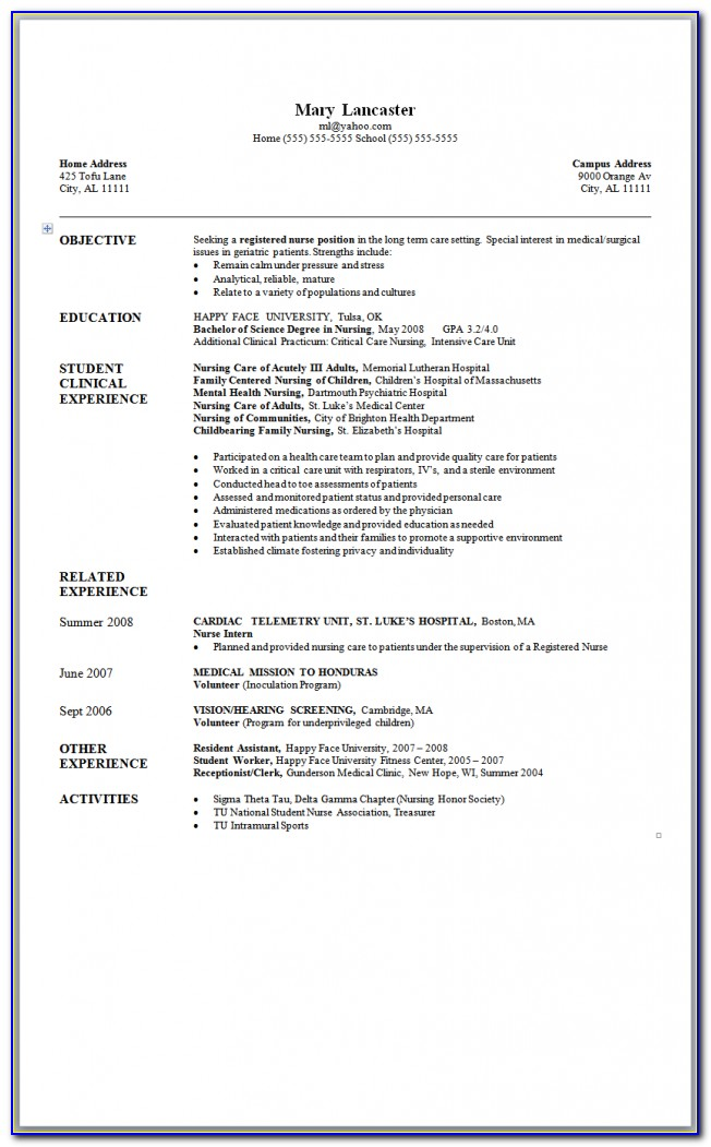 Grad Nurse Resume Template