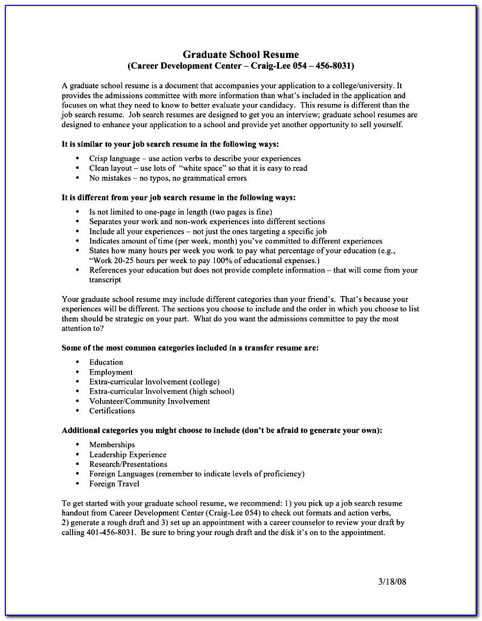 Grad School Admission Resume Samples
