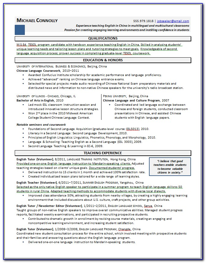 Grad School Admission Resume Template