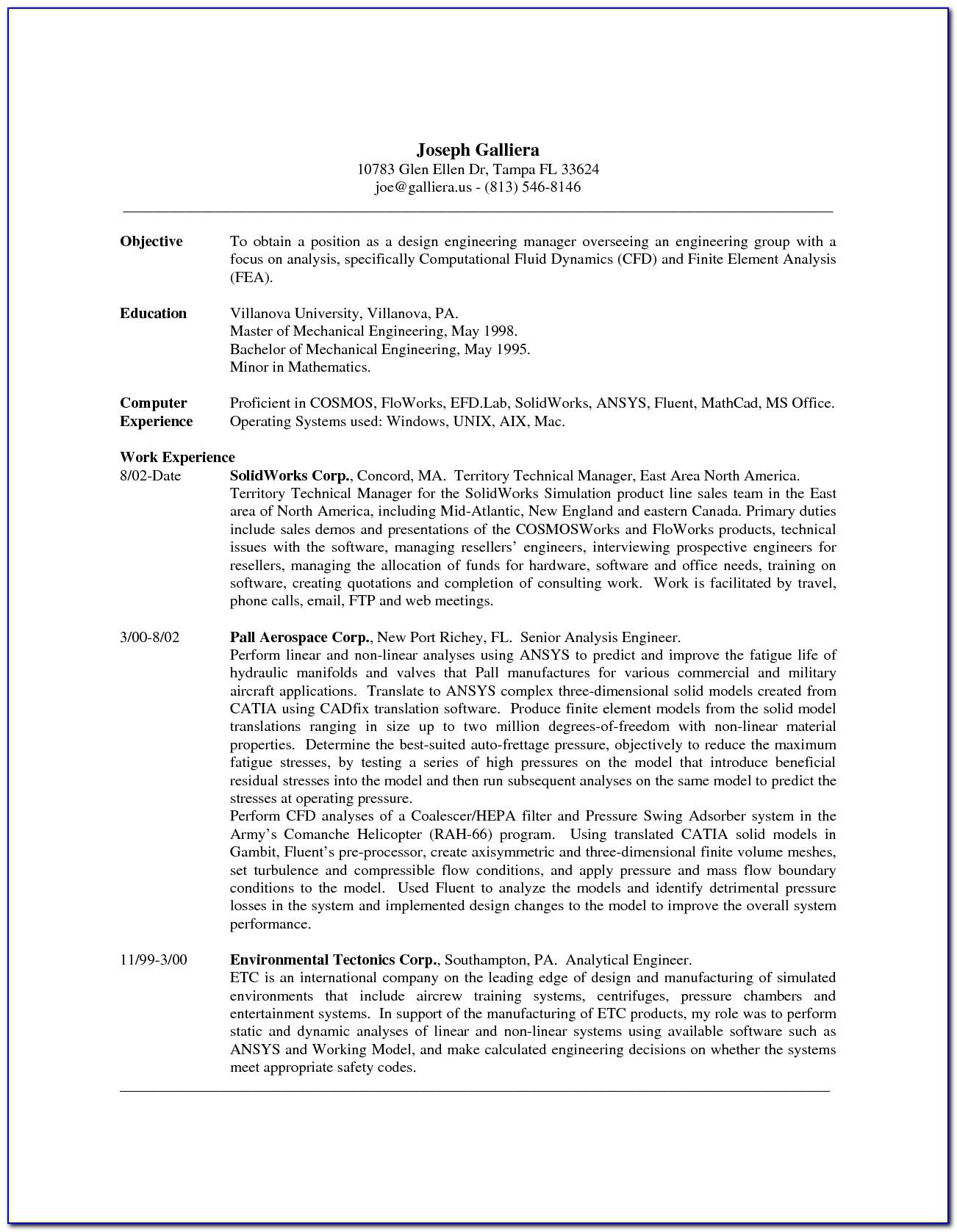 Grad School Application Resume Example