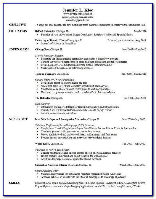 Grad School Application Resume Examples