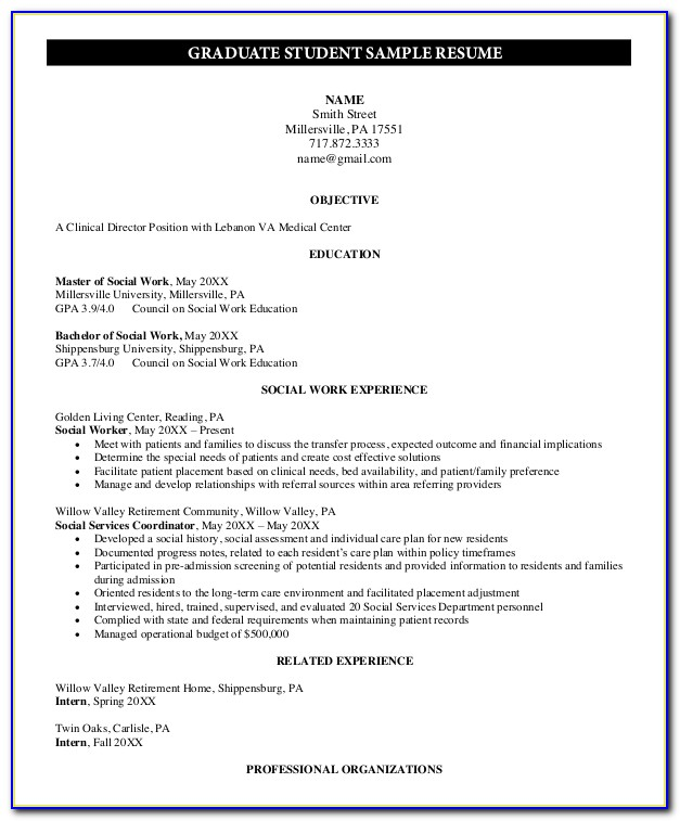 Grad School Application Resume Sample