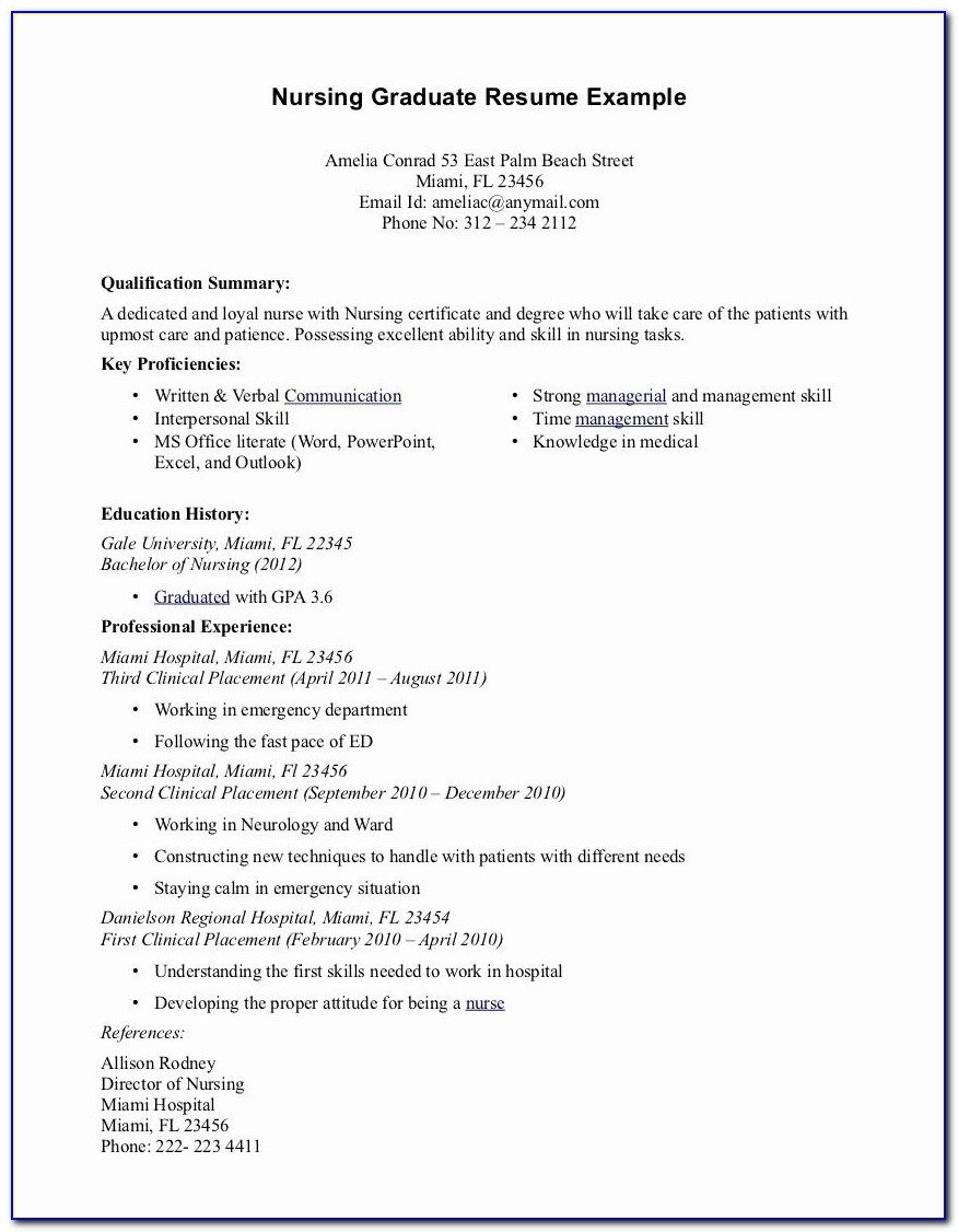 Graduate Nurse Resume Sample Australia