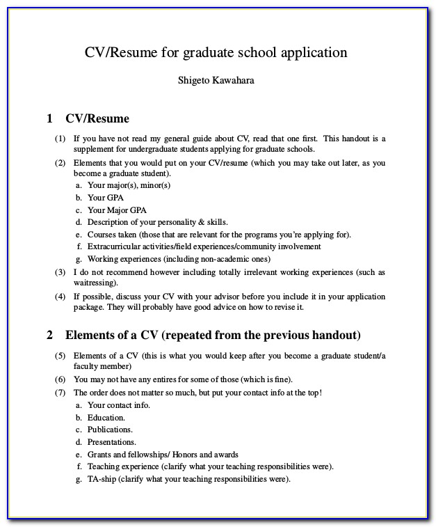 Graduate School Admission Resume Sample