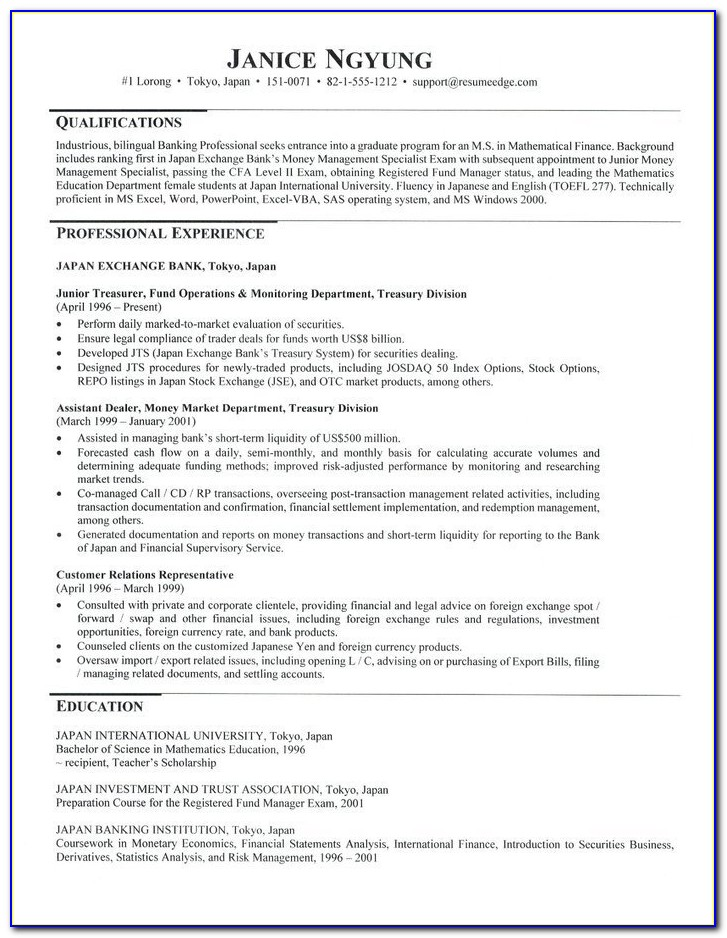 Graduate School Admission Resume Template