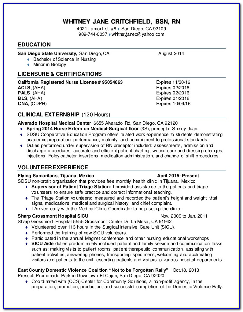 Graduate Student Nurse Resume Sample