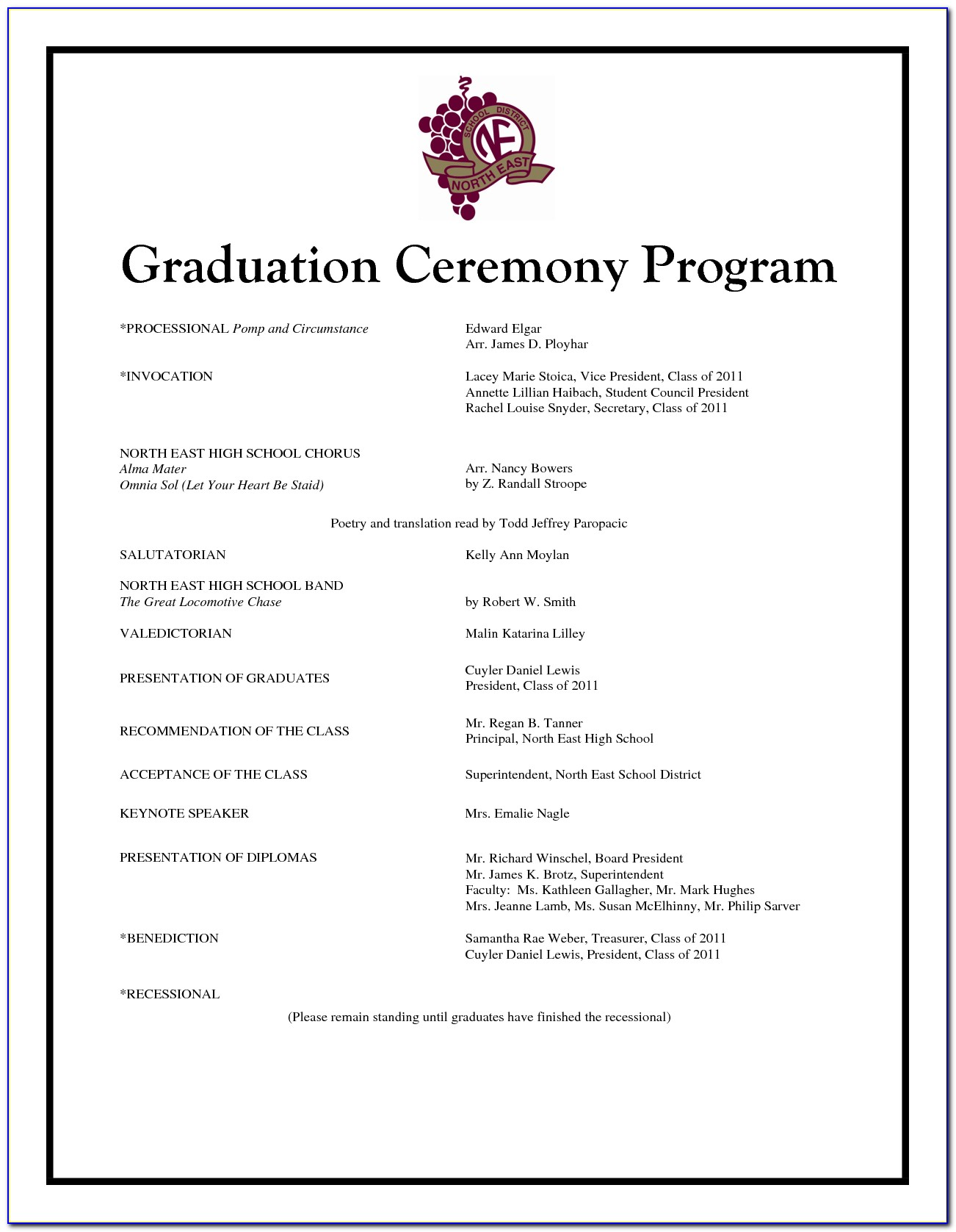 Graduation Ceremony Program Sample