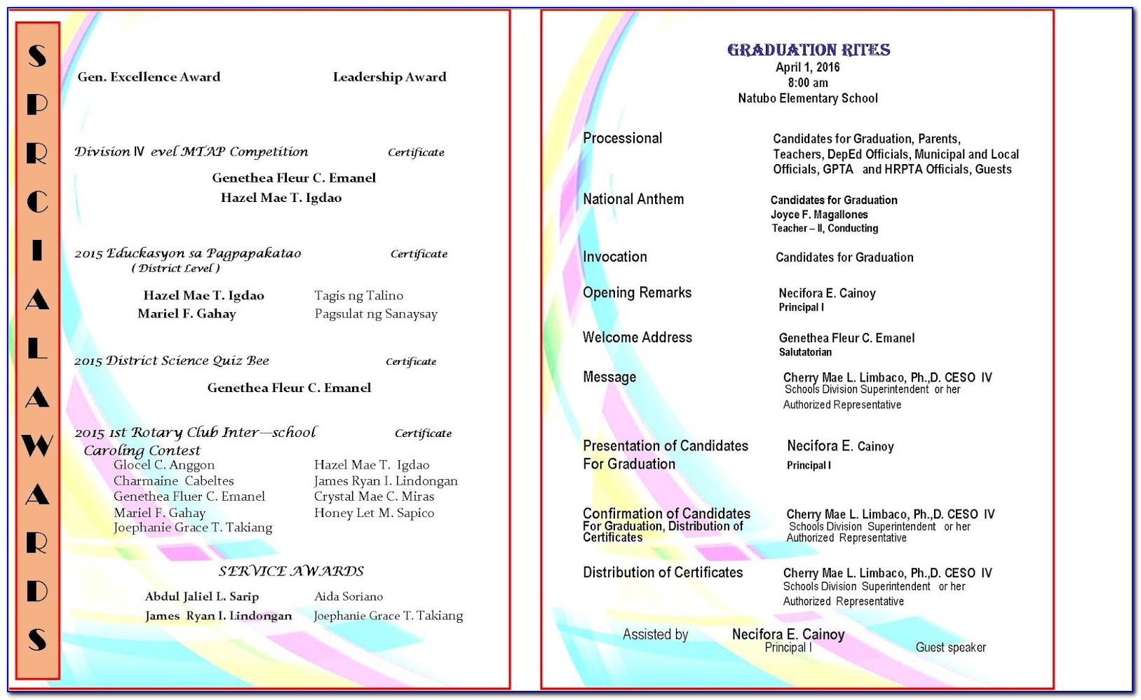 Graduation Ceremony Program Wording