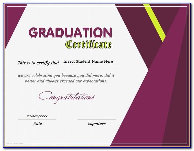 Graduation Certificate Wording Examples