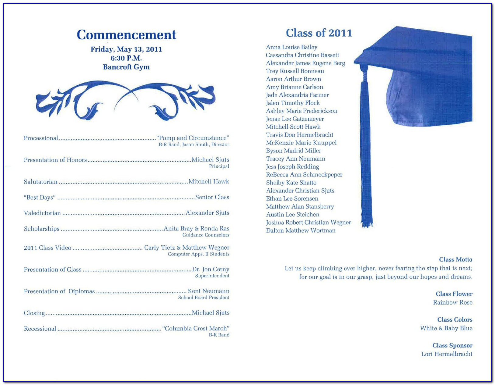 Graduation Reception Program Sample