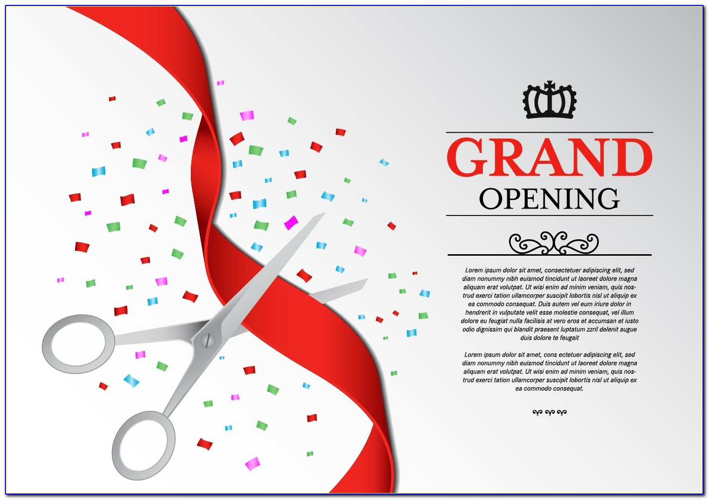 Grand Opening Invitation Card Design Vector