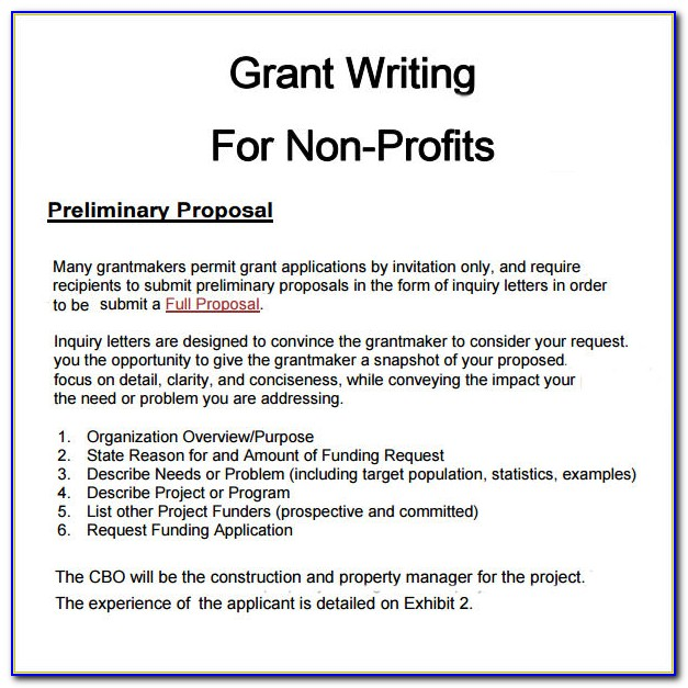 Grant Writing Sample For Nonprofit