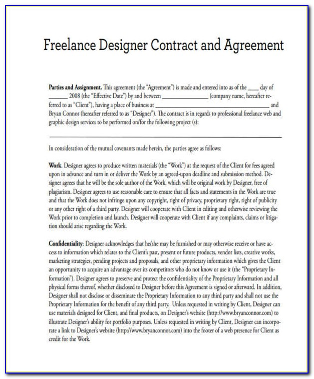 Graphic Design Freelance Contract Sample