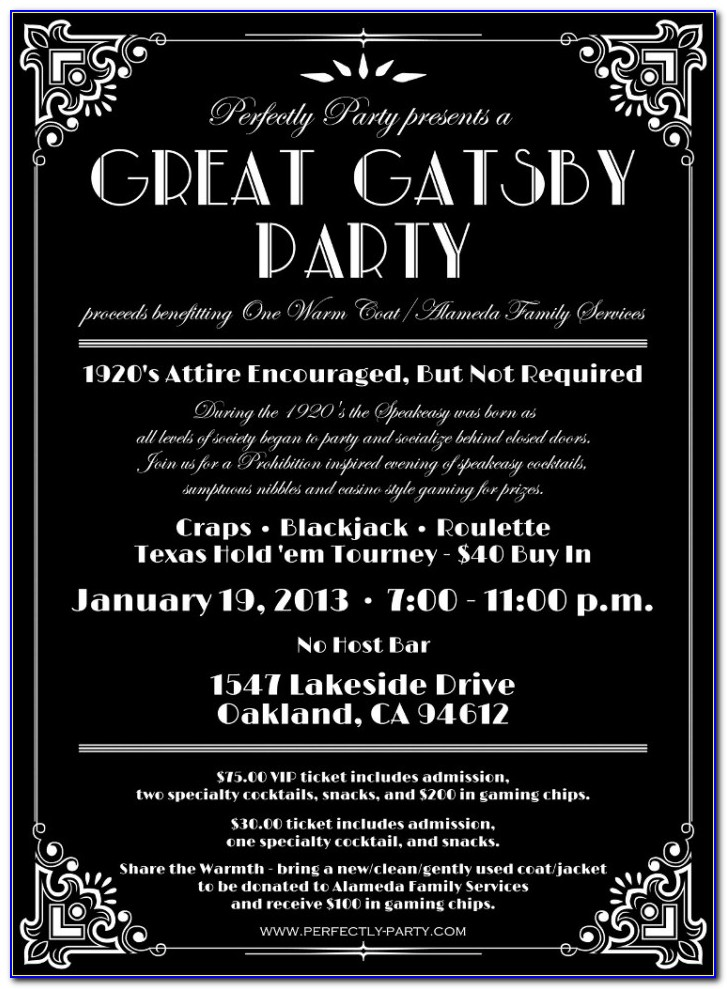 Great Gatsby Invitation Templates Free