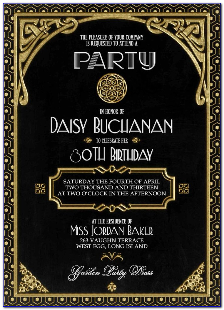 Great Gatsby Invitations Templates