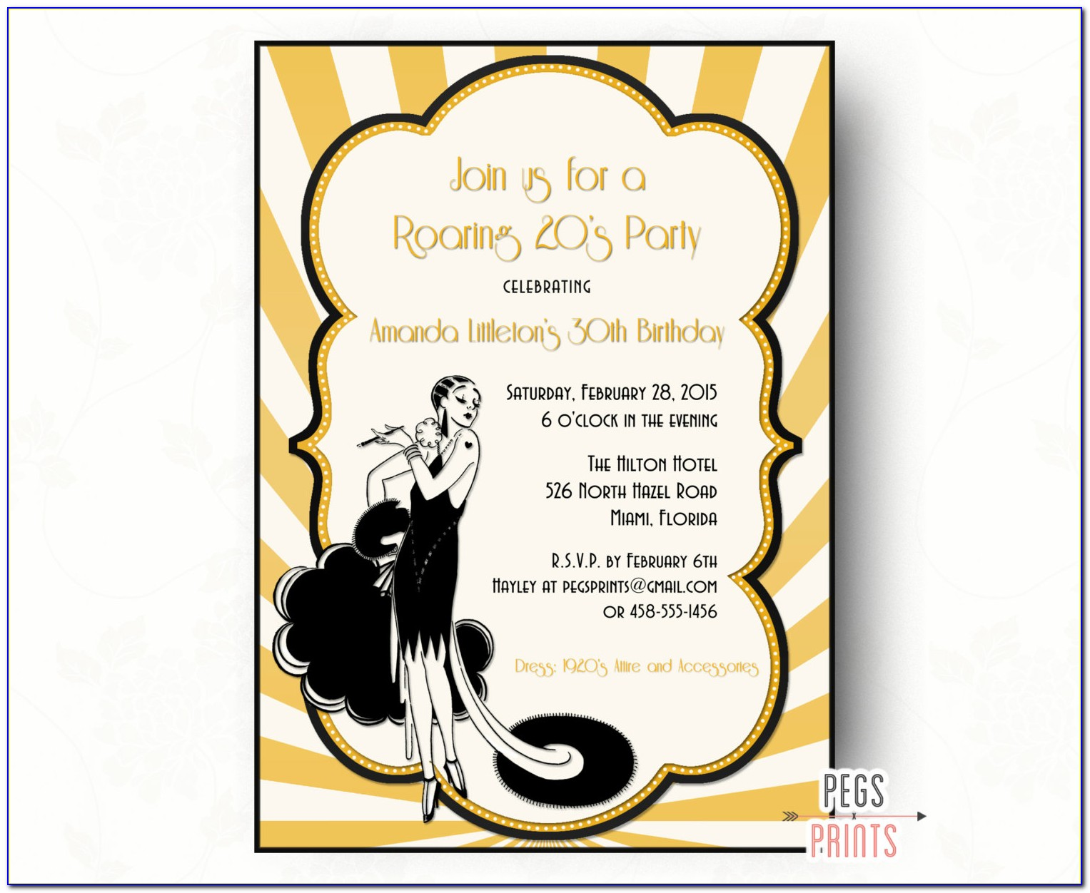 Great Gatsby Prom Invitations Template