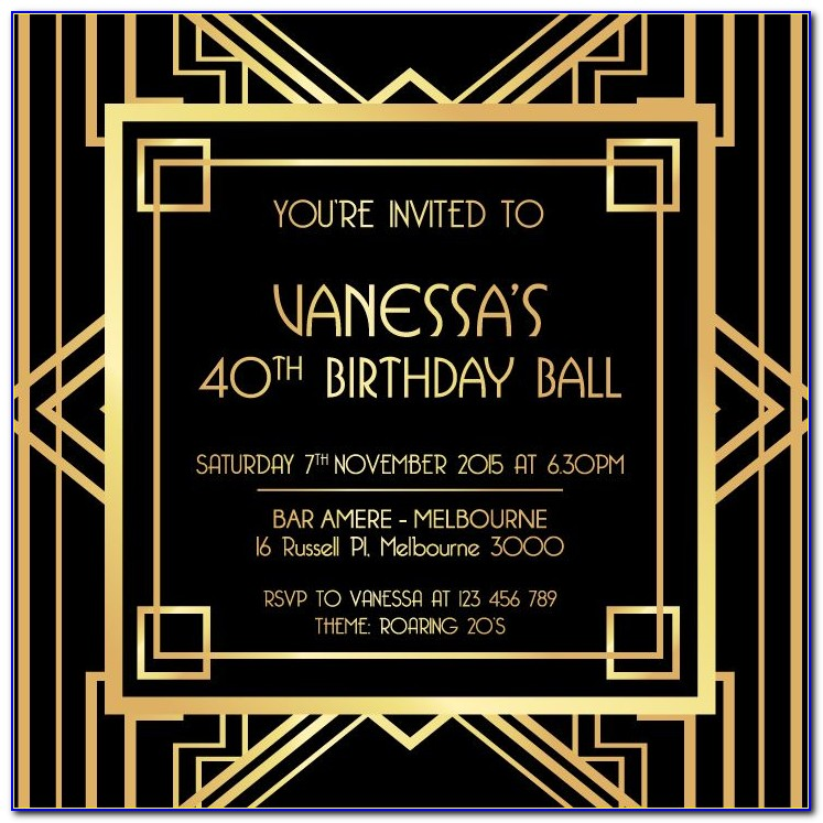 Great Gatsby Themed Invitation Template