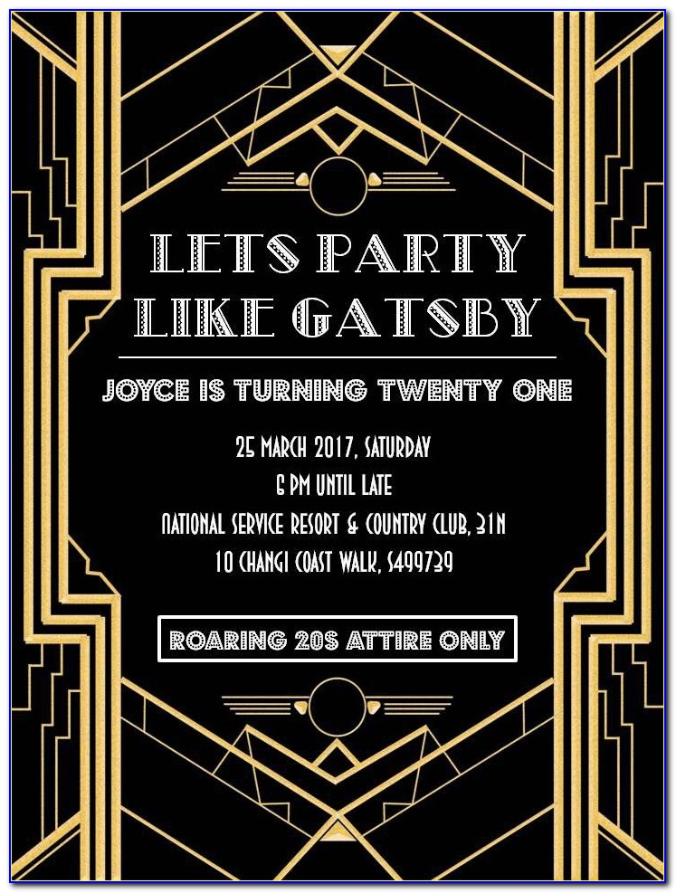 Great Gatsby Themed Party Invitations Templates