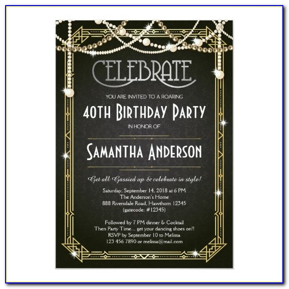 Great Gatsby Wedding Invitations Templates