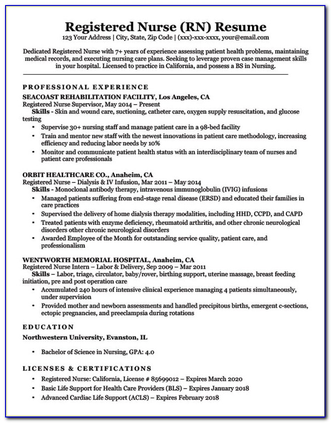 Great Rn Resume Examples
