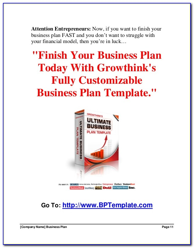 Growthink Business Plan Template Free