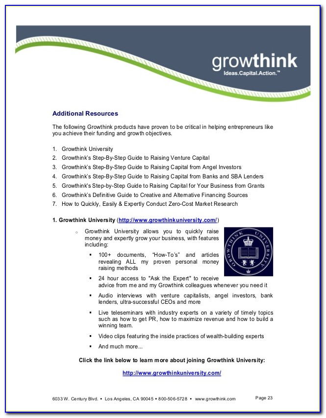 Growthink Business Plan Template Pdf