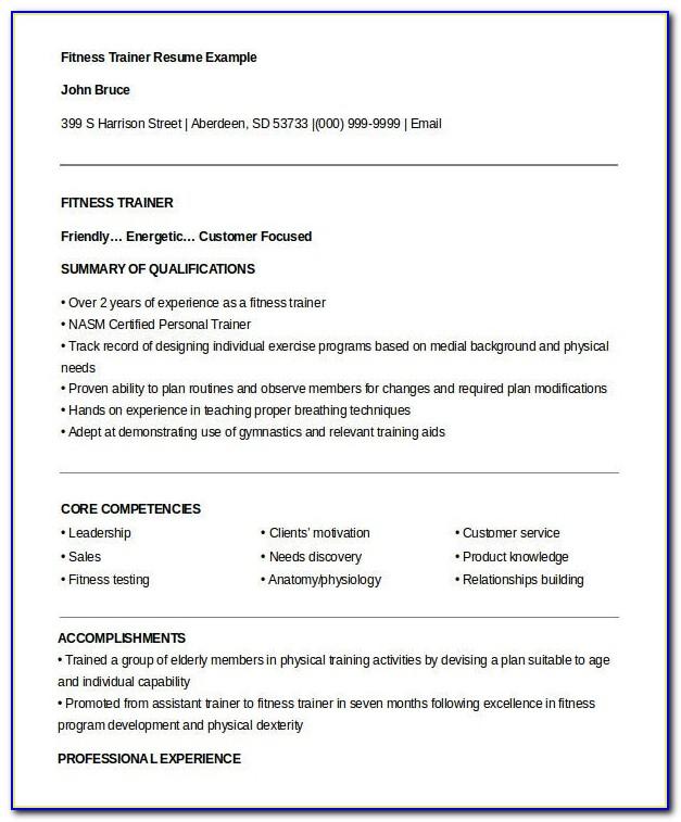 Gym Instructor Resume Format