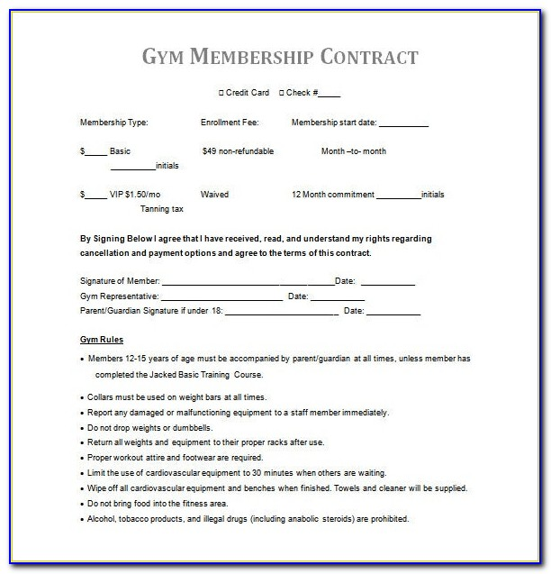 Gym Membership Cancellation Form