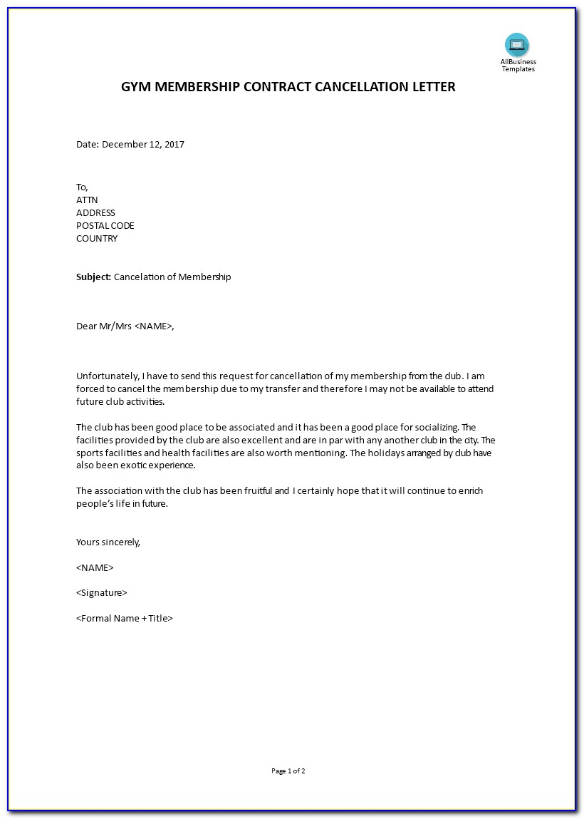 Gym Membership Cancellation Letter Template Free