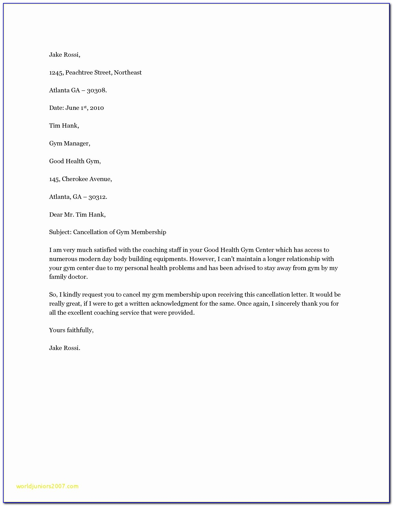 Gym Membership Cancellation Letter Template Uk