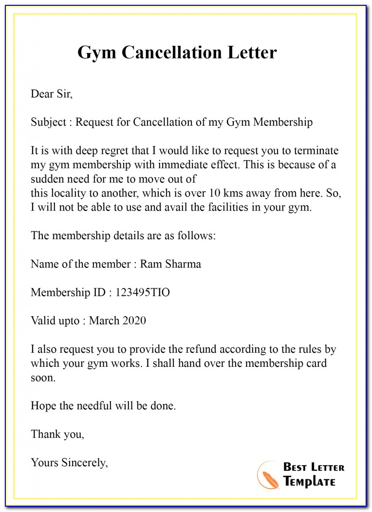 Gym Membership Cancellation Letter Template