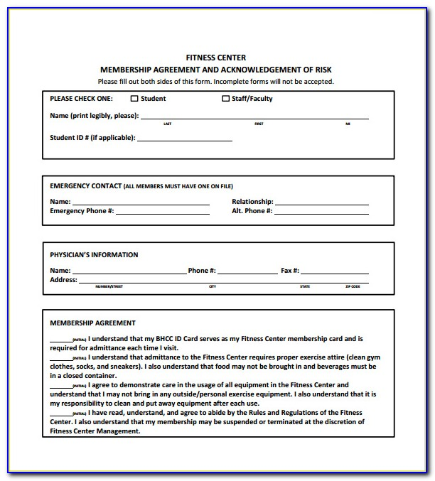 Gym Membership Contract Template Free