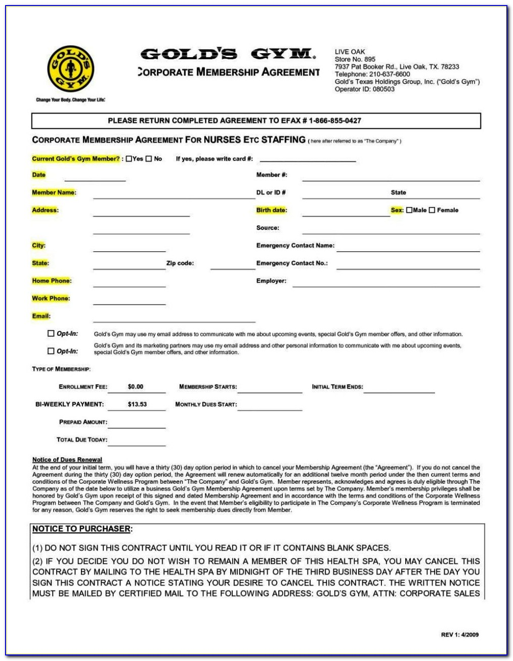 Gym Membership Contracts Templates