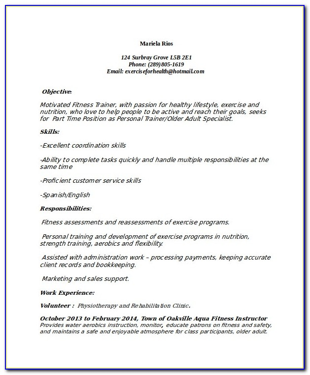 Gym Trainer Job Resume Format