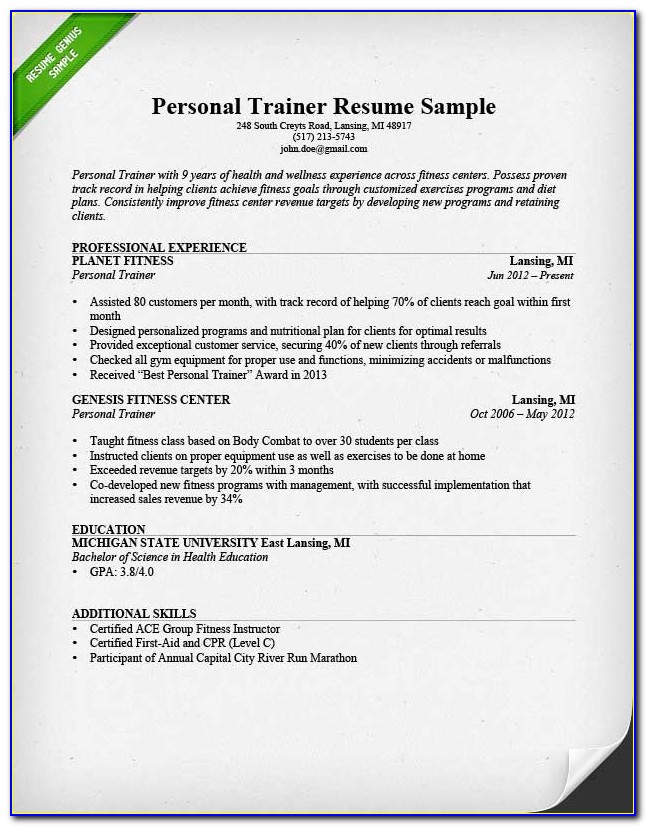 Gym Trainer Resume Format