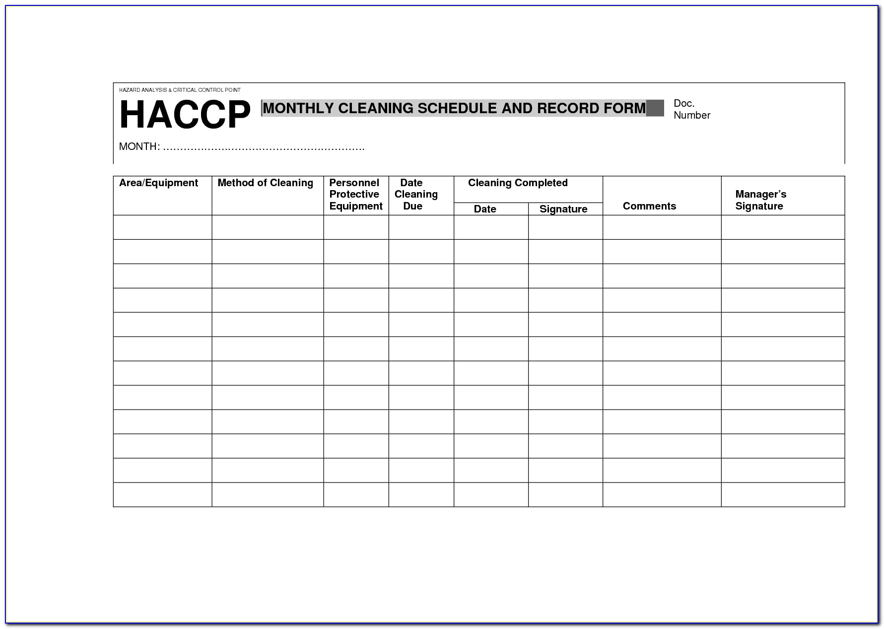 Haccp Plan Example Uk