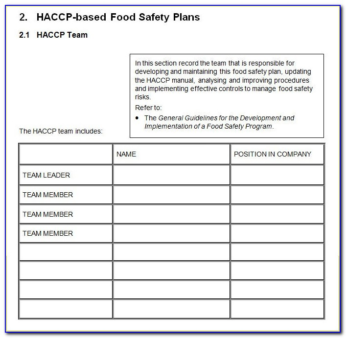 Haccp Plan Template Free Download