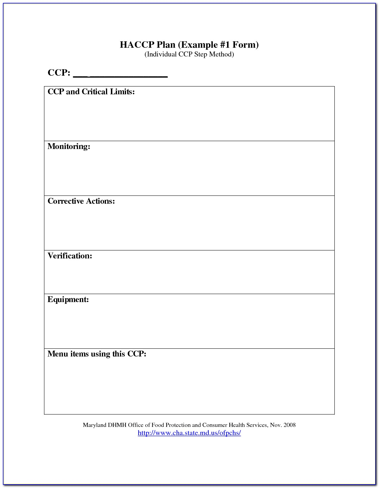 Haccp Plan Template Maryland