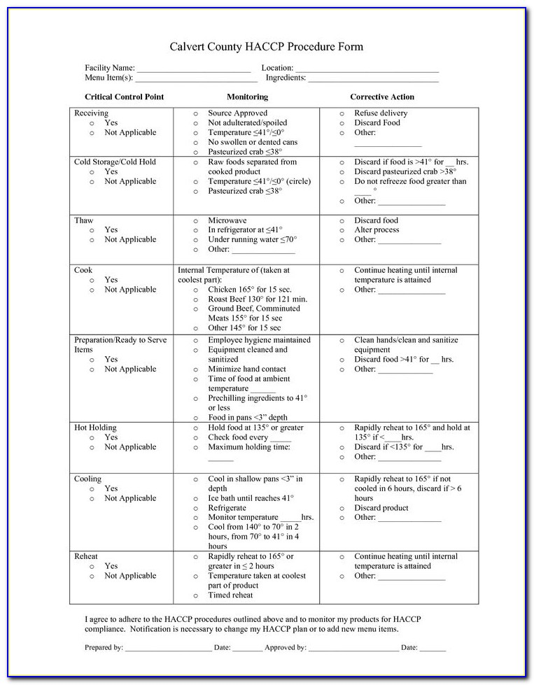 Haccp Plan Template Restaurant Uk